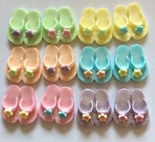 12 EDIBLE SUGARPASTE ICING FLIP FLOPS BIRTHDAY WEDDING PARTY BEACH CAKE TOPPERS