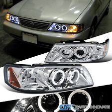 For Nissan 1995-1999 Sentra 200SX LED Halo Projector Headlights Lamps Chrome