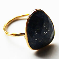 Faceted Semi-Precious Natural Stone Gold Statement Ring - Lapis Lazuli Size 8