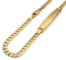 "5.80 Grams 3.5mm 8.00"" Mens 10k Yellow Real Gold Cuban Curb ID Bracelet"