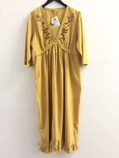 NEW April Cornell Long Embroidered Dress L Yellow Flowers Boho 3/4 sleeve Ruffle