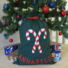CHILD'S PERSONALISED CHRISTMAS / SANTA SACK - CANDY CANES DESIGN -
