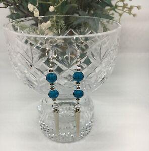 Czech Glass Teal Rondel Beads Dagger Spike Pierced Earrings Long Dangle SS Hooks