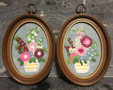 VINTAGE Framed Crewel Embroidery Floral WALL ART OVAL UNDER GLASS 2PC ~ AS IS
