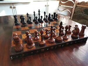 Vintage Wooden Handmade Chess USSR
