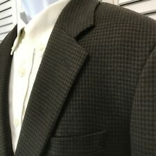Alfani Mens 38R Chocolate Brown Black Houndstooth Blazer Sport Coat Wool flannel