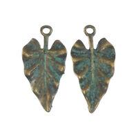 Vintage Bronze Patina Tone Alloy 30*14*1mm Tree Leaf Look Charms Pendants 20PCS