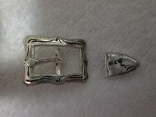 """German Silver 2-piece Buckle Set -- for 1/2"""" strap (122-15P)"""