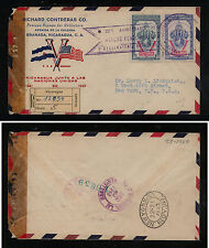 Nicaragua    stamp dealer censor  registerd cover to  US                 KEL0411