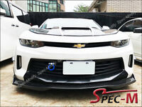 R1 Carbon Fiber Front Bumper Chin Lip w/ Winglets For 16-18 Camaro I4 V6 RS CF