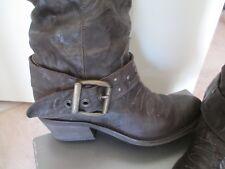 Stivali donna vera pelle artigianali misura 36 marroni Made in Italy tacco basso