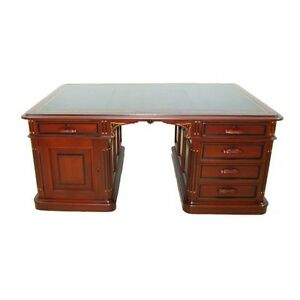 Antique American Victorian Partners Desk w Gold-Tooled Black Leather Top #7448