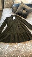 Zara AW2020 Khaki Coduroy Dress Size L Sold  Out BNWT
