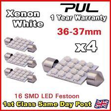 4 un. Blanco coche cúpula Interior C5w Smd 16 Led Festoon bombilla luz lámpara 36mm 12v del Reino Unido
