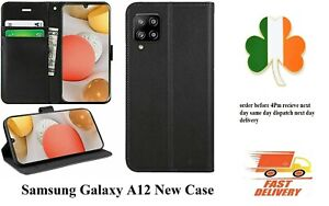 Samsung galaxy A12 case Leather new book screen cover black pouch wallet case