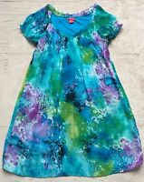 Sunny Leigh Women's Pastel Shift Dress,  Size Small, Aqua Blue & Purple, Green