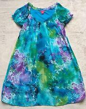 Sunny Leigh Women's Pastel Shift Dress,  Size Small, Aqua Blue & Purple, Green