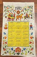 Vintage~1980~Linen~Kitchen Calendar~Wall Hanging~Towel~Horse & Carriage~