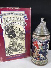 Budweiser Gerz Santa's Helper The Saturday Evening Post Lidded Beer Stein 1993