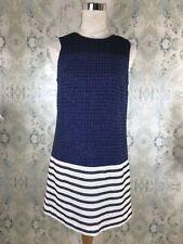 Anthropologie Ali Ro Blue Silver Metallic Striped Tweed Silk Dress 4 Small