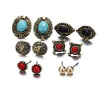 Women Boho Blue Red Stone Turquoise Ear Stud Alloy Earrings Set Bohemian Jewelry