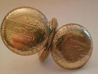 Antique 14K Gold Filled WALTHAM Pocket Watch Engraved Etched Hunter Case 40 Gram