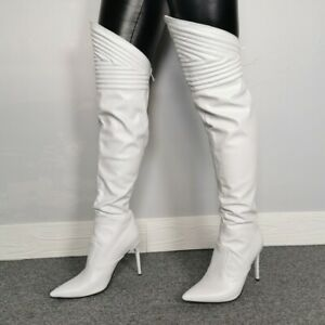 Women Fashion Over Knee High Heels Pointed Toe Zipper Boots Nightclub Shoes Size
