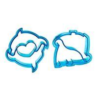 Premier Housewares Set Of 2 Sandwich Cutters Dinosaur/dolphin Shape Design Blue