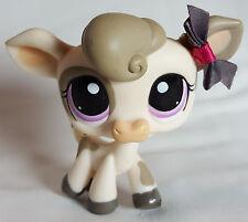 Littlest Pet Shop #1351 Cream Tan Cow Purple Eyes Toy LPS Hasbro