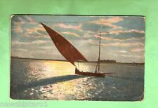 #A. EGYPT  MILITARY POSTCARD -  1918, ON ACTIVE SERVICE, BOATS ON NILE, SUNSET