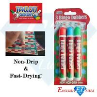 Bingo Dabbers Marker Pens - Non Drip Ink Dabbers - Pack of 3 Mixed Colours