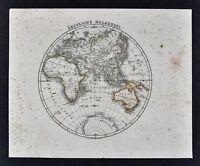 1847 Flemming World Map - Eastern Hemisphere Europe Asia Africa Australia India
