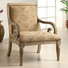 Brisbane White Wash Finish Fabric Padded Accent Chair