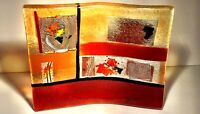 "Modernist Contemporary Studio Art FUSED Glass Dish 7""x6"" Signed HandMade Greece"