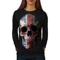 Wellcoda British Flag Skull Womens Long Sleeve T-shirt, Faded Casual Design