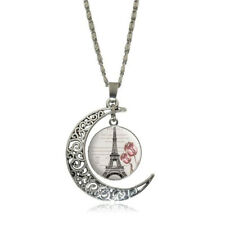 Moon Women Glass Cabochon Hollow Eiffel Tower Pendant Necklace Jewelry Silver