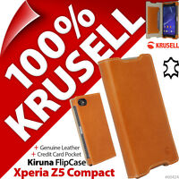 Krusell Kiruna GENUINE LEATHER Slim Flip Case Cover for Sony Xperia Z5 Compact