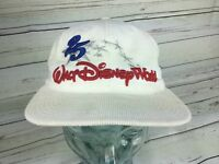 Walt Disney World White Cap Hat Embroidered 25th anniversary corduroy