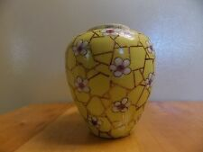 VINTAGE GINGER JAR NO LID YELLOW WITH FLOWERS.NUMERS & LETTERS ON RIM