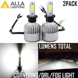 Alla Lighting 8000lm COB-LED Fog Light Driving Bulbs Cornering Lamps Xenon White