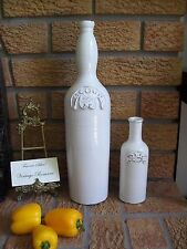 "Acqua & Oil Pottery Ceramic Bottles 16.5"" & 8"" Rustic Design Italian NEW"