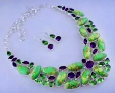 Green Glamour Copper Turquoise-Amethyst-Peridot Silver Necklace & Earrings