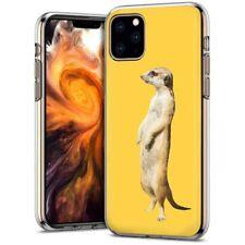 Thin Gel Phone Case Cover Apple iPhone 11 Pro Max,Realistic meerkat Animal Print