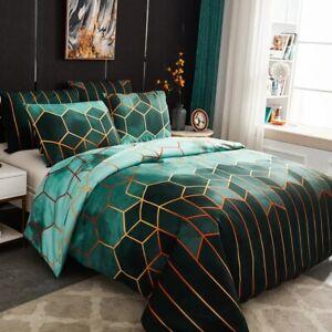 Set Duvet Cover Bedding Geometric Print Pillowcase Modern Sets Comfortable Queen