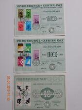 3 Förderungs-Zertifikate der Stiftung Deutsche Sporthilfe 1968 und 1972