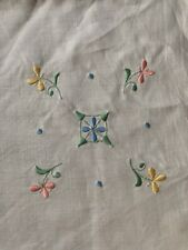 Lovely Vintage Irish Linen Hand Embroidered Tablecloth
