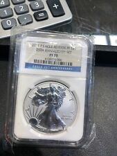 2011 P SILVER EAGLE REVERSE PROOF 25TH ANNIVERSARY NGC PF70
