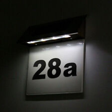 Solar Powered House Door Number 4x LED Outdoor Wall Plaque Light Stainless Steel
