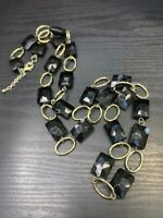 """Vintage Gold Black Lucite facetted beaded Necklace Rhinestone Long Sweater 36"""""""