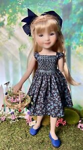 """Boneka Navy Floral Hand Smocked Dress For 14.5"""" Ruby Red Fashion Friend Doll"""